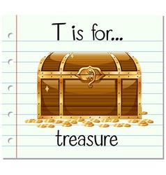 Flashcard letter t is for treasure vector