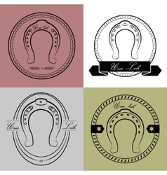 Horseshoe logos in different styles With the vector image