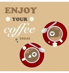 Mug Design Coffee Texture Brown Red Coffee vector image vector image