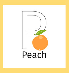peach and letter p coloring page vector image vector image