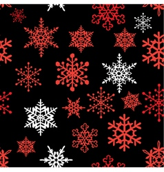Snowflakes pattern black red vector image vector image