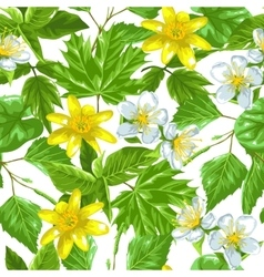 Spring green leaves and flowers Seamless pattern vector image vector image
