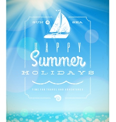 Summer holiday lettering emblem with yacht vector