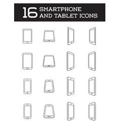 16 smartphone icons line style vector image