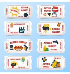 Action movie tickets set vector image