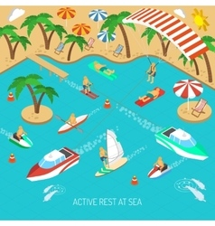 Active rest at sea concept vector image