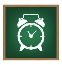 Alarm clock sign White chalk effect on green vector image