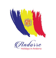 Andorra independence day brush stroke effect vector