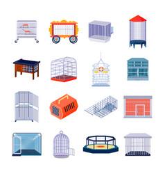 Animal box icons set vector