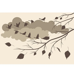 Autumn birds fly south vector