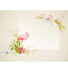Banner with pink flamingo and flowers vector