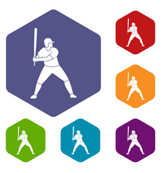 baseball player with bat icons set hexagon vector image