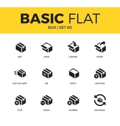 Basic set of box icons vector image