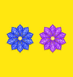 blue and purple diamond flower vector image