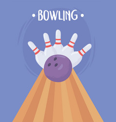Bowling ball crashing into skittles flat vector