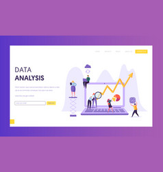 business data analysis research landing page vector image
