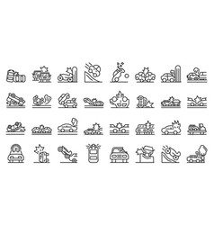 Car accident icons set outline style vector