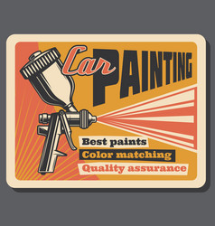 Car painting service vintage poster vector