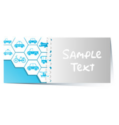 Card template with different transportations vector