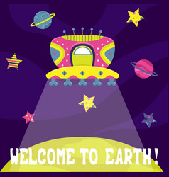 Cartoon flat with a alien ship welcome to earth vector