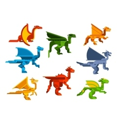 Cartoon flying dragons flat icons vector