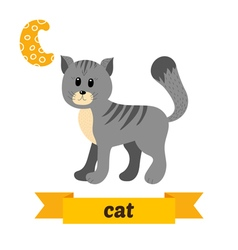 Cat c letter cute children animal alphabet vector