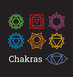 Chakra symbols set vector