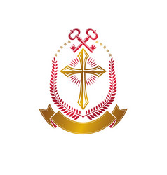 christian cross decorative emblem composed with vector image