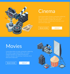 Cinematograph isometric elements web banner vector