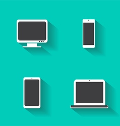 Computer devices icons with lap-top mobile vector