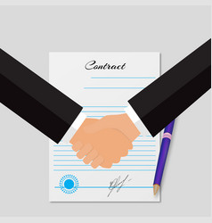 Contracting with handshakes grey background vector