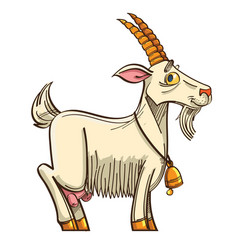 cute cartoon goat with bell vector image