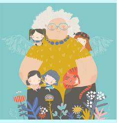 Cute cartoon grandmother hugging their vector