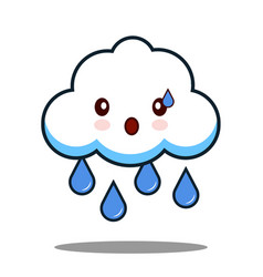 cute cloud rain kawaii face icon cartoon character vector image
