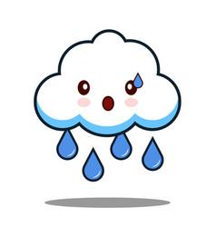 Cute cloud rain kawaii face icon cartoon character vector