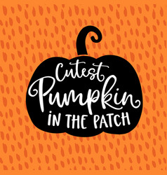 cutest pumpkin in patch cute halloween party vector image
