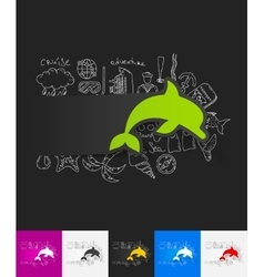 Dolphin paper sticker with hand drawn elements vector