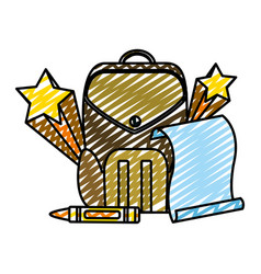 Doodle education backpack and paper with art vector