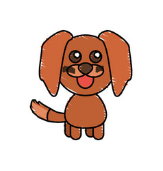drawing dog animal character vector image