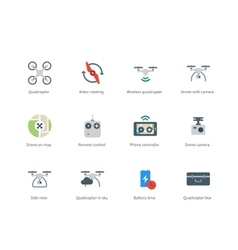 Drone with Camera color icons on white background vector image