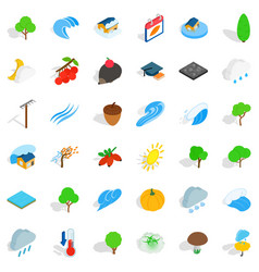 Earthly icons set isometric style vector