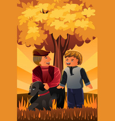 father playing with his son and their dog vector image
