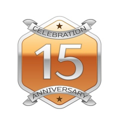 Fifteen years anniversary celebration silver logo vector image