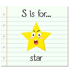 Flashcard letter S is for star vector