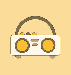 Flat icon on background tape recorder vector