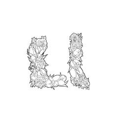 Flower alphabet the letter l vector