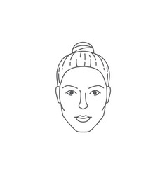 Front female face beautiful woman s head vector