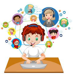 Front view a boy using laptop for communicate vector