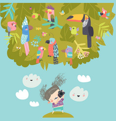 funny little girl takes pictures birds in branches vector image
