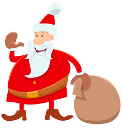 funny santa claus cartoon character with sack of vector image